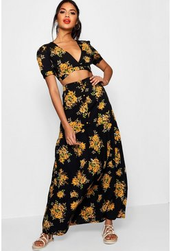 Vic Floral Plunge Maxi Skirt Co-ord Set, Black
