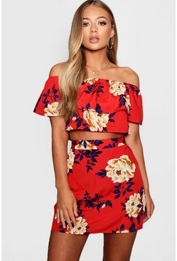 Womens Red Floral Ruffle Top and Mini Skirt Set