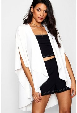 Womens Cream Waterfall Split Sleeve Duster Jacket