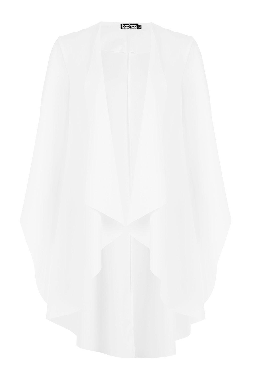 las Chaqueta cascada en guardapolvo en crema aberturas mangas estilo con waqaRrx04n