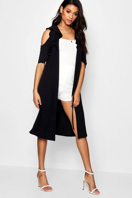 Cold Shoulder Frill Duster Jacket