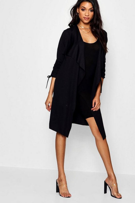 Womens Black Ruched Sleeve Waterfall Duster Jacket