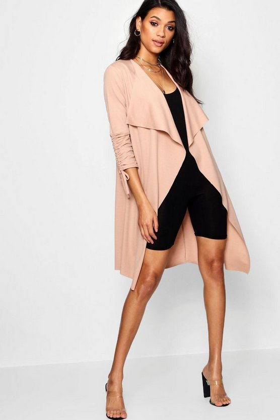 Ruched Sleeve Waterfall Duster Jacket