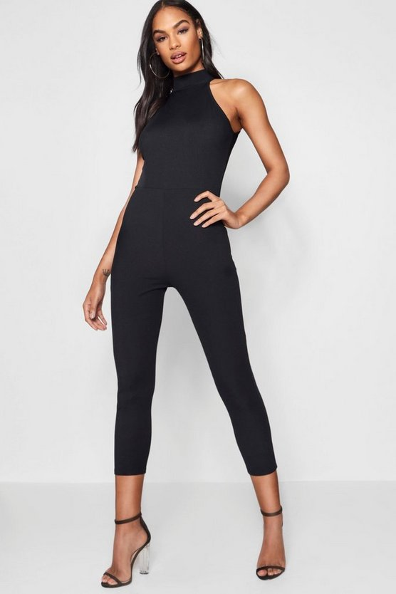 Black High Neck Ribbed Jumpsuit