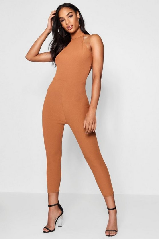 High Neck Ribbed Jumpsuit