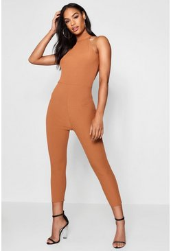 Toffee High Neck Ribbed Jumpsuit
