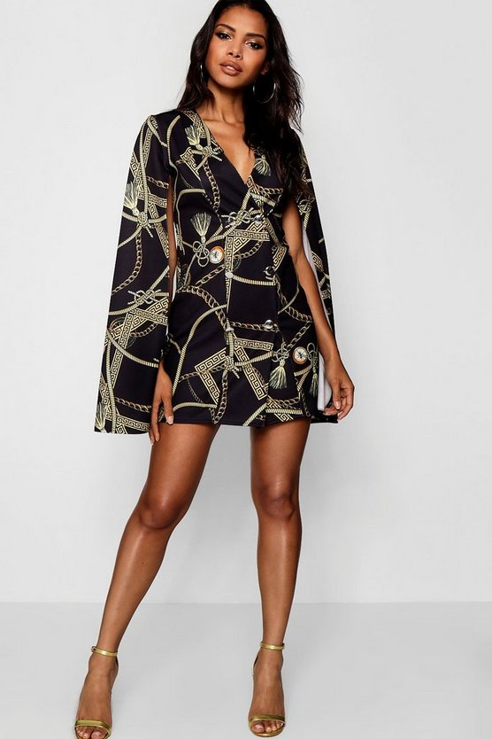 Womens Black Chain Print Cape Sleeve Mini Dress