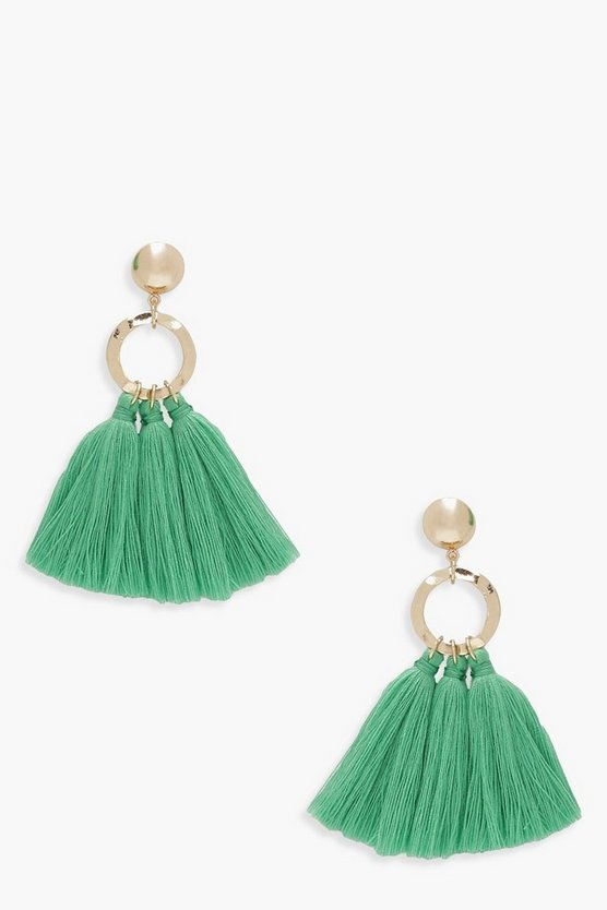 Womens Green Circle Tassel Earrings