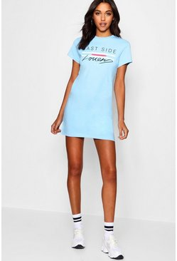 Womens Pale blue East Side Lover T-Shirt Dress