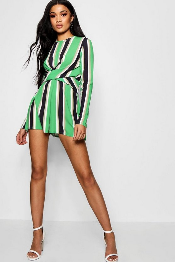 Striped Twist Front Romper