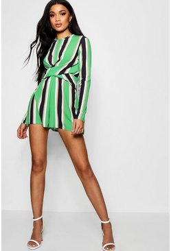 Womens Green Striped Twist Front Playsuit