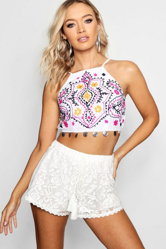 Embroidered Coin Trim Crop
