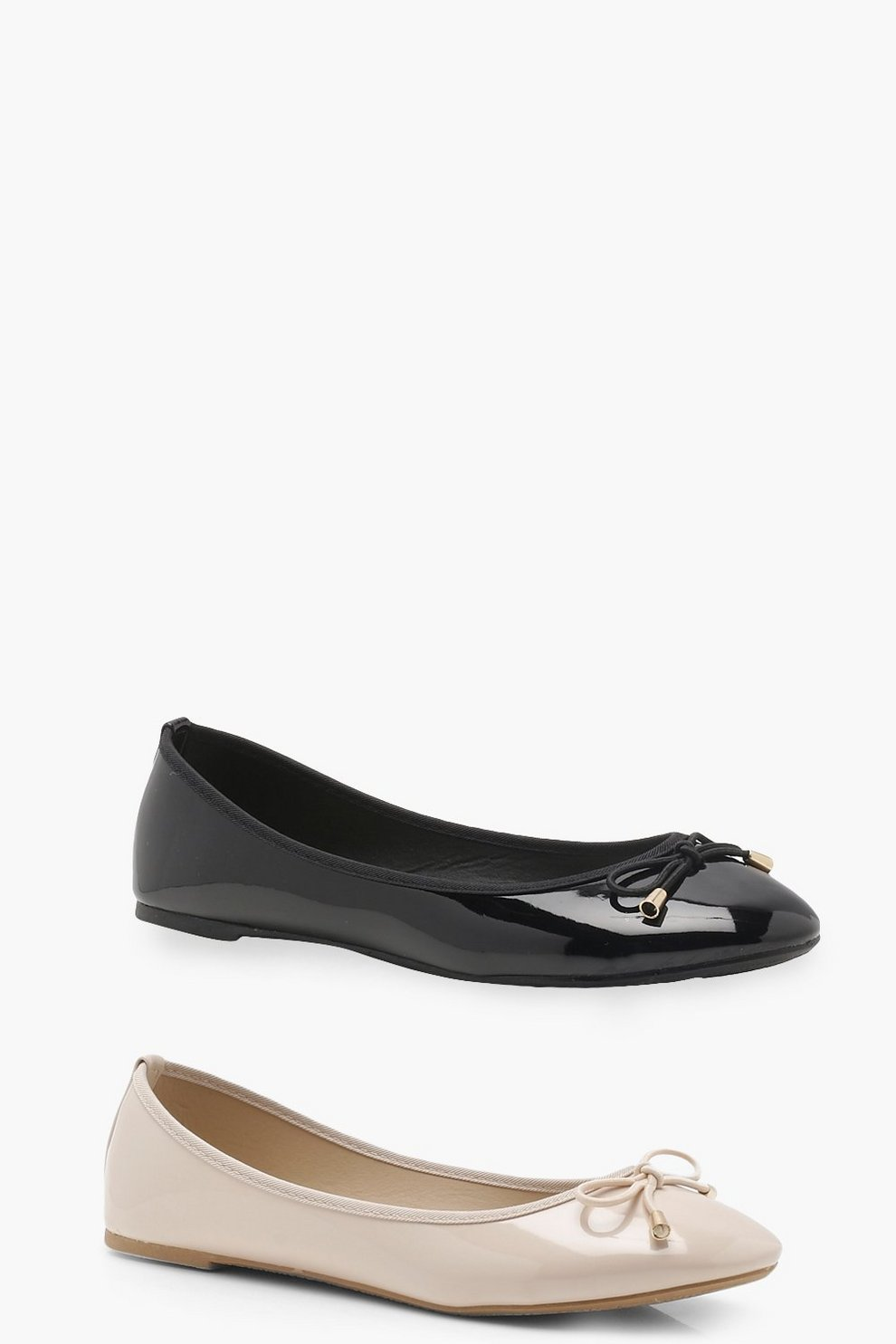 8afe76158ebe3 Two Pack Bow Ballet Pumps | Boohoo