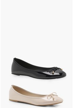 Womens Black Two Pack Bow Ballet Pumps