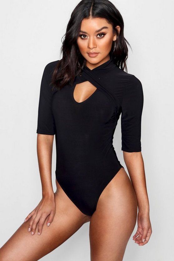 Wrap Detail High Neck Bodysuit