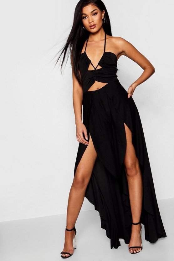 Womens Black Lace Up Frill Leg Jumpsuit