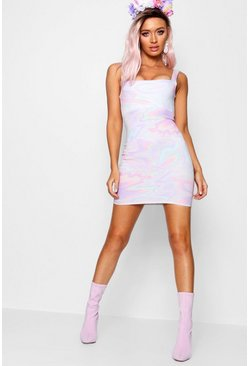 Womens Lilac Square Neck Pastel Psychedelic Mini Dress