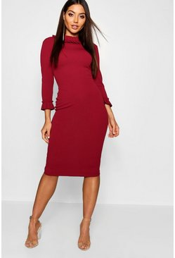 Womens Berry Pleat Detail Midi Dress