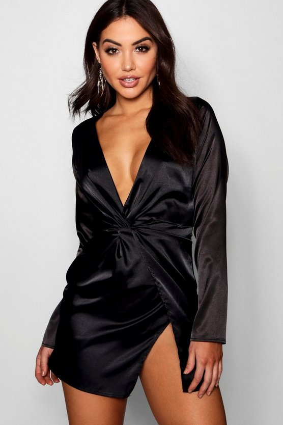 Womens Black Satin Twist Front Wrap Dress