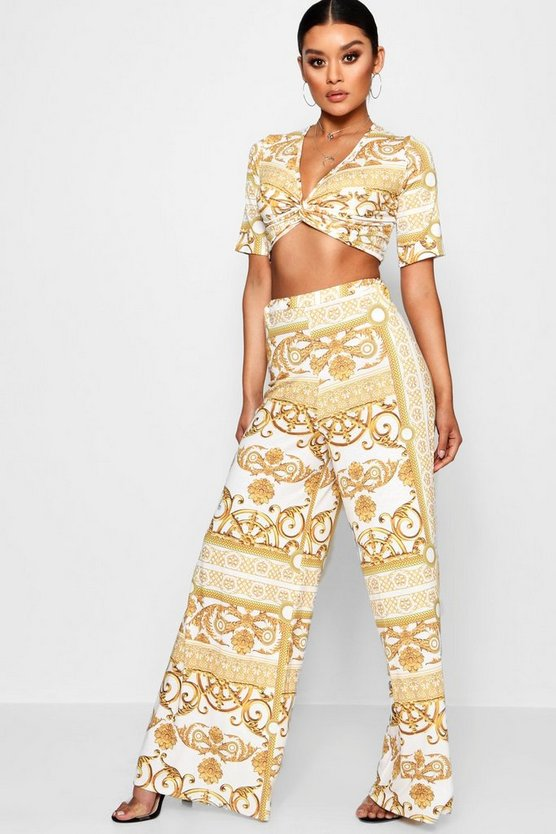 Chain Print Crop and Wide Trouser Co-ord