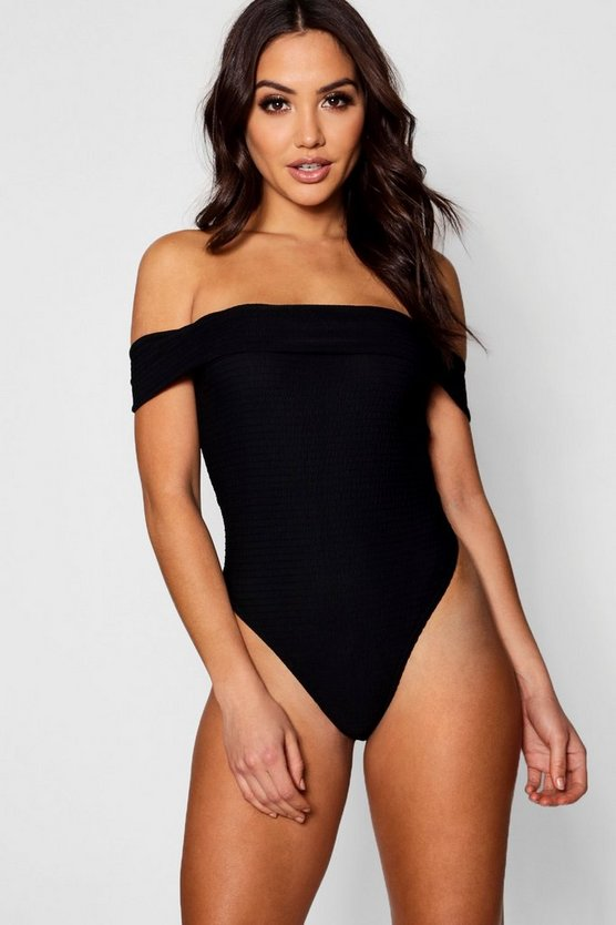 Ribbed Bardot Bodysuit