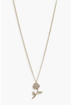 Womens Gold Charm Pendant Necklace