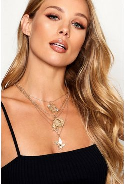 Womens Gold Multi Charm Sovereign Layered Necklace
