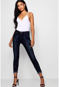 High Rise Roll Hem Skinny Jeans, Mid blue, ЖЕНСКОЕ