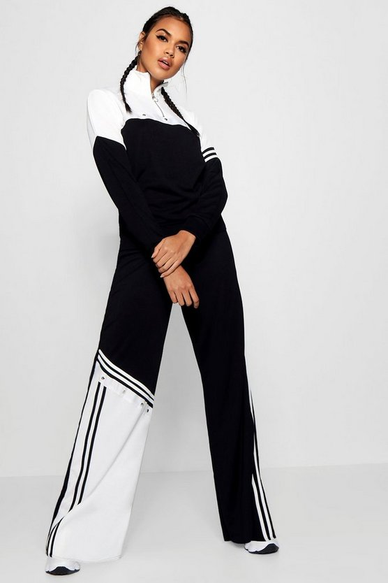 Sports Stripe Popper Wide Leg Trouser