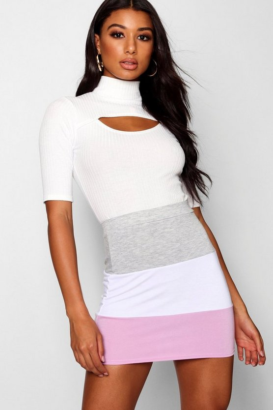 Colour Block Sweat Mini Skirt