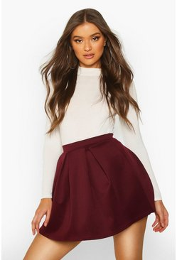 Berry Basic Scuba Box Pleat Mini Skater Skirt