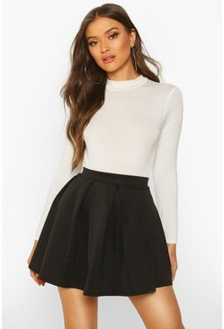 Womens Black Basic Scuba Box Pleat Mini Skater Skirt