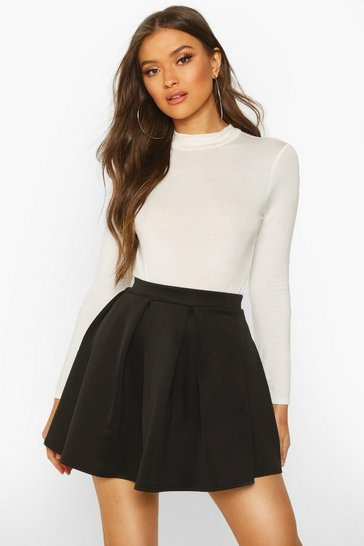 Womens Black Basic Scuba Mini Skater Skirt