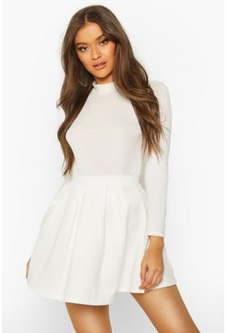 Ivory Basic Scuba Box Pleat Mini Skater Skirt