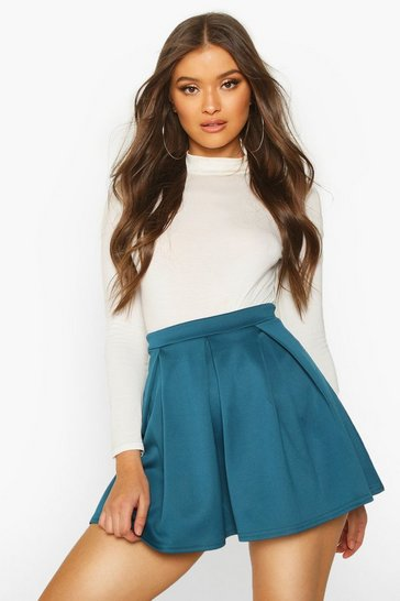 Womens Petrol Basic Scuba Mini Skater Skirt