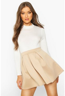 Sand Basic Scuba Box Pleat Mini Skater Skirt