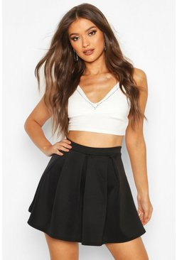 Black Basic Scuba Box Pleat Mini Skater Skirt
