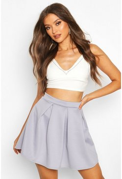 Grey Basic Scuba Box Pleat Mini Skater Skirt