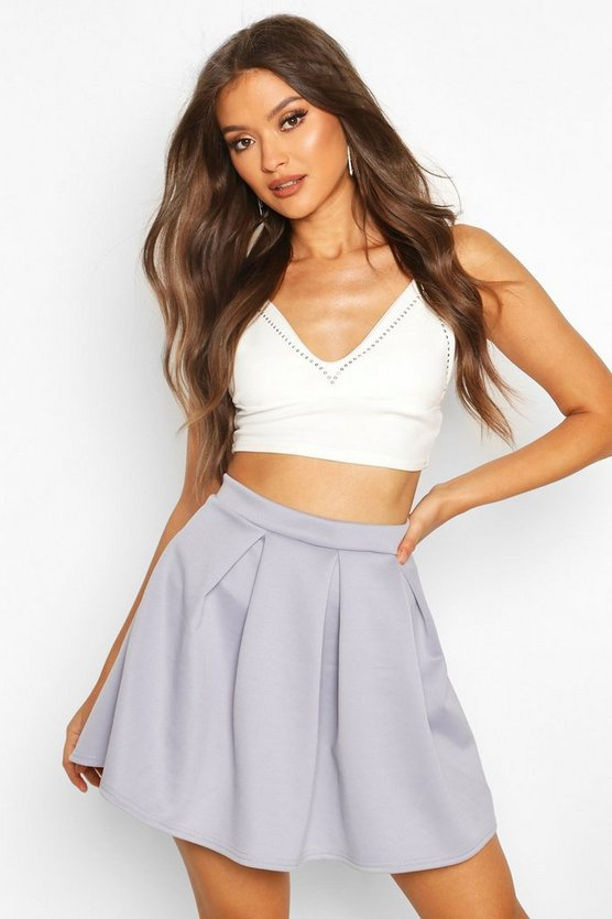 Womens Grey Basic Scuba Mini Skater Skirt