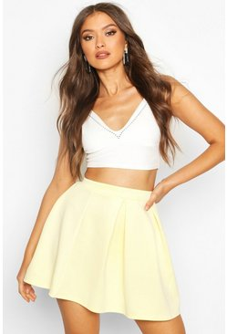 Lemon Basic Scuba Box Pleat Mini Skater Skirt