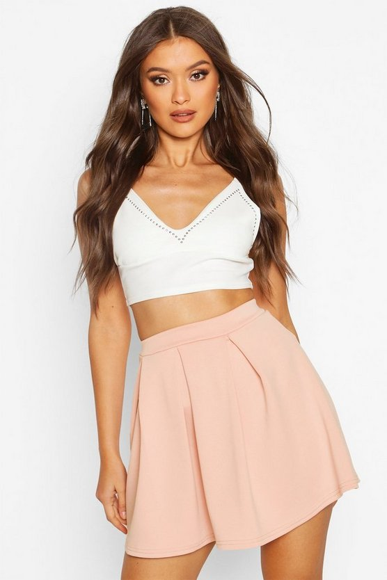 Womens Rose Basic Scuba Mini Skater Skirt