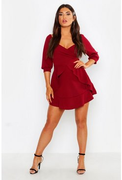 Womens Berry Ruffle Detail Wrap Skater Dress