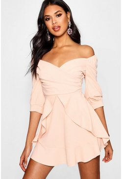 Womens Blush Ruffle Detail Wrap Skater Dress
