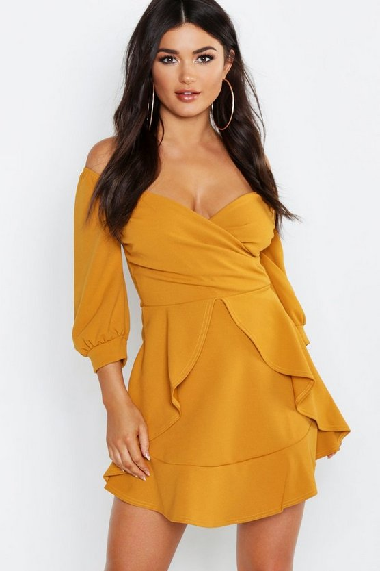 Womens Mustard Ruffle Detail Wrap Skater Dress