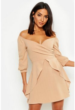 Womens Stone Ruffle Detail Wrap Skater Dress
