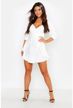 Womens White Ruffle Detail Wrap Skater Dress