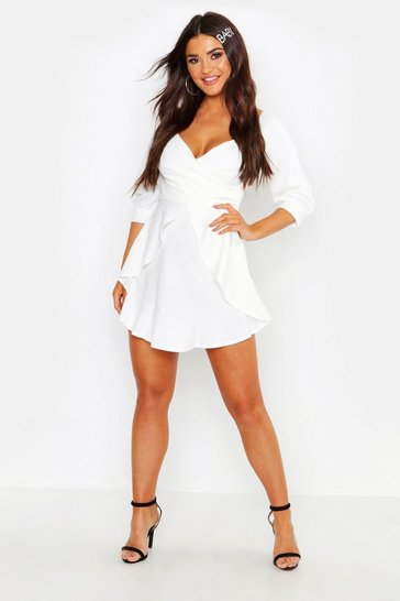 White Ruffle Detail Wrap Skater Dress