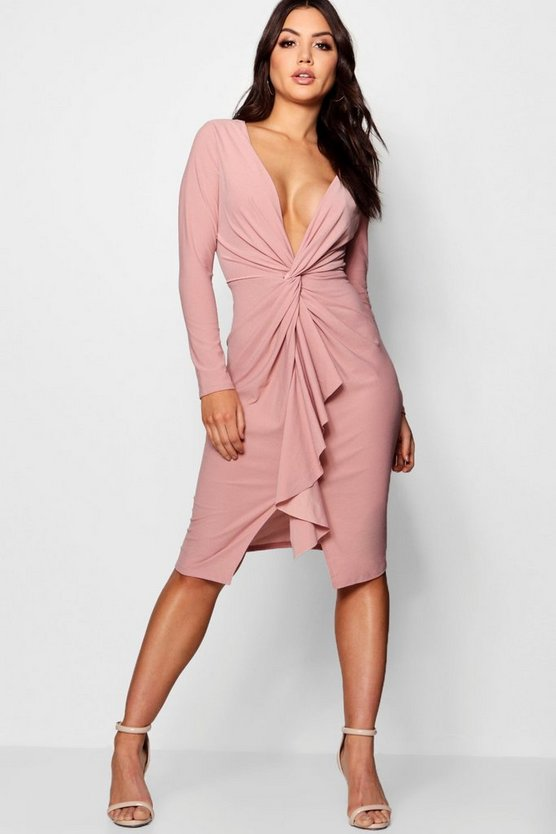 Womens Rose Wrap Ruffle Detail Midi Dress