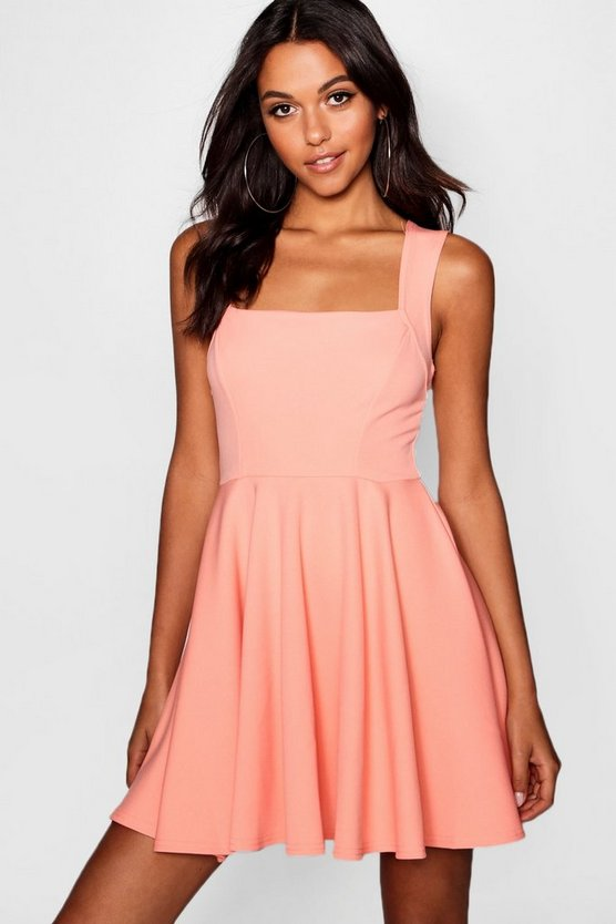 Womens Coral blush Square Neck Skater Dress