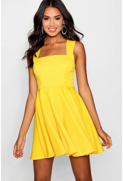 Womens Yellow Square Neck Skater Dress